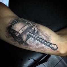 70 Mjolnir Tattoo Designs For Men - Hammer Of Thor Ideas .- 70 Mjolnir Tattoo-Designs für Männer – Hammer Of Thor Ideen – Mann Stil Thor Hammer Tattoo, Thor Tattoo, Avengers Tattoo, Marvel Tattoos, Norse Tattoo, Viking Tattoos, Up Tattoos, Sleeve Tattoos, Tattoos For Guys