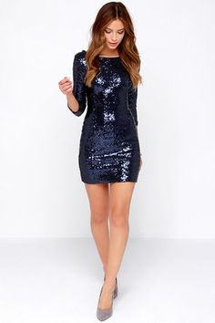 With style in spades, it's almost like the Delightful Ways Navy Blue Sequin Dress was made just for you! Navy blue sequins decorate this bodycon dress. Navy Dress Outfits, Hoco Dresses, Satin Dresses, Homecoming Dresses, Cute Dresses, Nye Dress, Party Dress, Bodycon Dress, Blue Sequin Dress