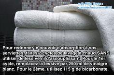 Utilisez du vinaigre blanc et du bicarbonate pour redonner le pouvoir d'absorption des serviettes
