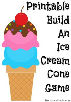 Perfect summer fun activity for kids! Build an ice cream cone while learning to take turns, working on colors and numbers, or just play a fun summer game!