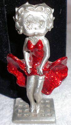 Miniature Pewter Betty Boop Figurine Red Glitter Dress