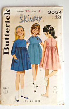 Butterick Pattern 3054  Girl's Dress  by YeOldVintagePatterns