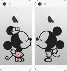 Mickey Mouse and Minnie Mouse Kissing Vinyl Decal iPhone, Car, Window, Wall Art, phone, Ipad, Tablet, Computer by rockpaperscissors24 on Etsy
