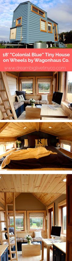 """18' """"COLONIAL BLUE"""" TINY HOUSE ON WHEELS BY WAGONHAUS CO."""