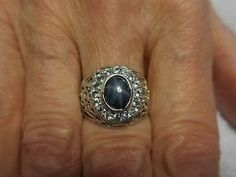 1-75-CT-Blue-Star-Oval-Sapphire-Filigree-Sterling-Silver-stamped-925-size-7-75
