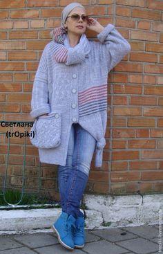 Купить Авторский вязаный жакет в стиле бохо - серый, жакет женский, кардиган вязаный