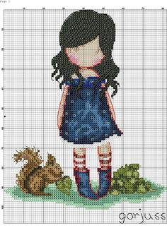 Girl with squirrel Cross Stitch Boards, Cute Cross Stitch, Cross Stitch Alphabet, Counted Cross Stitch Kits, Cross Stitch Designs, Cross Stitching, Cross Stitch Embroidery, Stitch Doll, Stitch Pictures