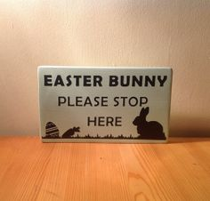 Chunky freestanding wooden plaque/sign Easter by JJAdorableCrafts, £10.00