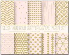 Blush And Gold Glitter Digital Paper Set