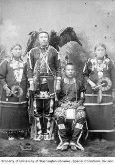 Studio portrait of the White Eagle Family, Ponca Tribe, Arkansas City, Kansas, 1892