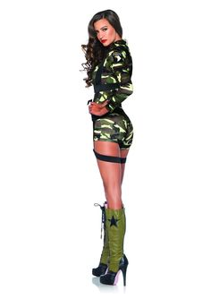 Here is a sexy camo solider costume from Leg Avenue! It comes with the camo romper suit and the harness that you see pictured. Army Girl Costumes, Army Costume, Flapper Costume, Romper Suit, Leg Avenue, Catsuit, Camo, Overalls, Rompers