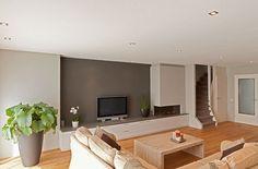 Iprocom – Interieurbouw en maatwerk meubels » Woonhuis Rotterdam Tv Wand, Fireplace Design, Home Look, Decoration, Lounge, Living Room, Architecture, Interior, Furniture