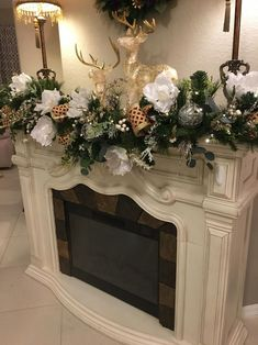 Luxury Pure White Magnolia Garland with 48 LED light. Light Timer Option, Artificial 6 feet or 9 f Christmas Fireplace, Farmhouse Christmas Decor, Christmas Mantels, Christmas Home, Christmas Villages, Victorian Christmas, White Christmas, Christmas Trees, Vintage Christmas