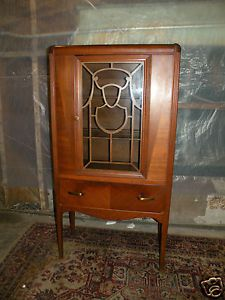 Antique Art Deco Style Dining Room China Hutch Walnut