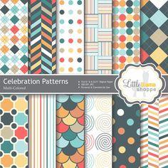 Digital Scrapbook Paper // Colorful Geometric by LittleLlamaShoppe, $3.00