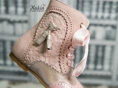botas pascualas online - calzado infantil clásico - pascualas charol rosa - pascualas borlas