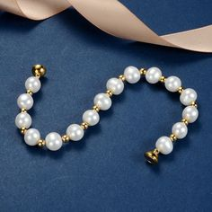 Gold Plated Beads White Cultured Freshwater Pearl Bracelet Wedding Bridal Jewelry for Women Floating Pearl Necklace, Baroque Pearl Necklace, Pearl Necklaces, Gold Pearl, Women's Bracelets, Pearl Ring, Pearl Jewelry, Pearl Earrings, Bridal Earrings