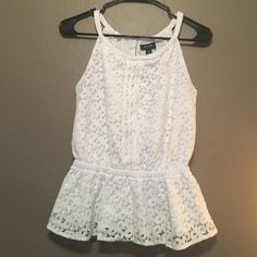 No longer need. Perfect for an interview. White blouse with floral crochet design. Flares out at the bottom, but not too much. In good great condition, only worn twice. Nicole by Nicole Miller Tops Blouses