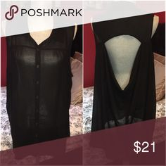 F21 P Black Sleeveless Sheer Button Down Open Back Cute shirt has a nice cowl open back perfect for jeans or leggings! Can dress it up or down. Forever 21 Tops Blouses