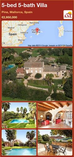 Villa for Sale in Pina, Mallorca, Spain with 5 bedrooms, 5 bathrooms - A Spanish Life Natural Stone Wall, Natural Stones, Summer Kitchen, Ceiling Beams, Murcia, Country Style, Valencia, Swimming Pools, Madrid