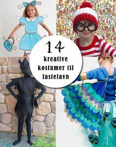 Klæd børnene ud til fastelavn med hjemmelavede kostumer February Holidays, Kids Dress Up, Diy Halloween, Clowns, Mardi Gras, Diy For Kids, Pixie, Snow White, Dressing