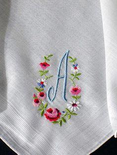 Hankie Petit Point Monogram A Vintage Swiss Cotton Embroidered   eBay