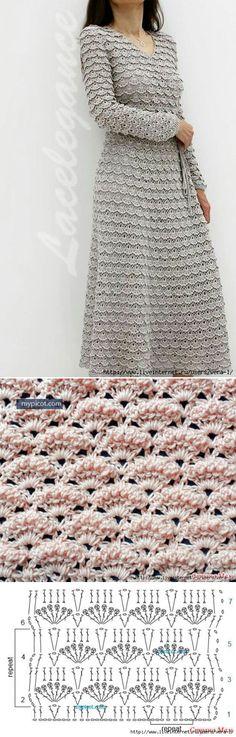Элегантное серое платье крючком