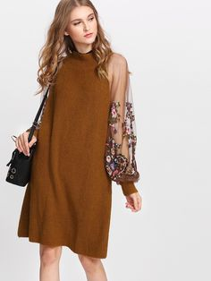 Shop Embroidered Mesh Sleeve Knit Dress online. SheIn offers Embroidered Mesh Sleeve Knit Dress & more to fit your fashionable needs.