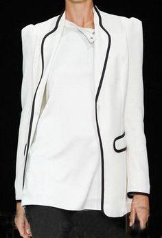White Lapel Long Sleeve Pockets Suit