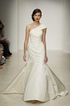 Amsale Harbor Silk-Radzmir One-Shoulder Wedding Dress