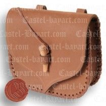 MEDIEVAL POUCH BAG OF BRAIDED LEATHER WITH COTTER: PRICE 24.87€ Pouch bag, bag, beggar's bag of the middle ages. This is an historical replica that served to save revenues and it was token in the waist.