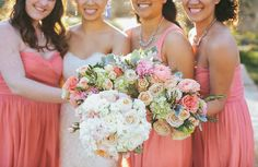 Coral Bridesmaids Dresses   Pearl Events Austin   Last Petal   Andrew Chan Photography