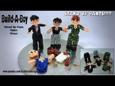 Rainbow Loom BUILD-A-BOY figure with Stand-Up Pants. Designed and loomed by Kate Schultz of Izzalicious Designs. Click photo for YouTube tutorial. 05/03/14.