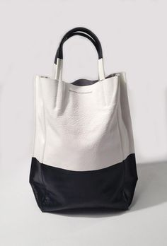 Ampersand as Apostrophe Color Dip Tall Tote in White and Black at ShopGoldyn.com
