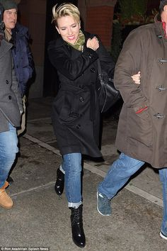 Happy host: Scarlett Johansson seemed to be in good spirits as she headed to the SNL after party in New York