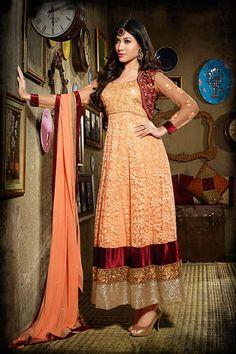Designer Orange Net, Brasso Designer Anarkali Suit With Jacket