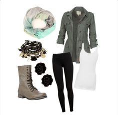 combat boots, army jacket, rose, scarf. i would wear this with a skirt, of course