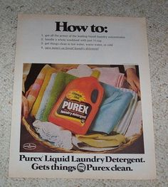 1978 Ad Page Purex Laundry Soap Detergent Vintage 1 Page Advertising Advert   eBay
