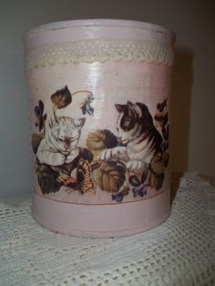Shabby Chic Painted Tin Can Pencil Holder Vintage Kitten Print