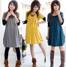 Ücretsiz nakliye İlkbahar Sonbahar Hamile Giyim Hamile kadınlar için gevşek elbise Tam Kol pamuk giyim mavi / sarı / gri (Çin (Anakara))