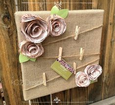 Upcycled Crafts Clothes Shabby Chic - Cork board Message board Note board Burlap shabby chic flowers Book page Sheet music. Flores Shabby Chic, Shabby Chic Flowers, Shabby Chic Crafts, Shabby Chic Homes, Burlap Crafts, Diy And Crafts, Upcycled Crafts, Manualidades Shabby Chic, Casas Shabby Chic