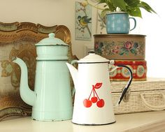tray, tins and coffee pots
