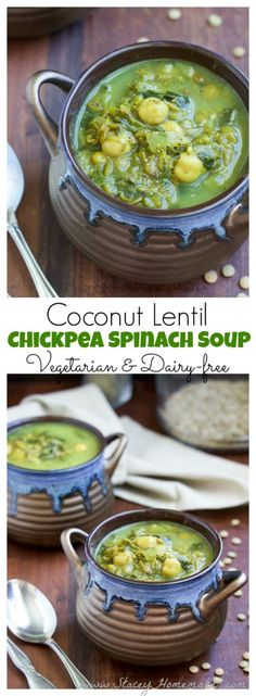 This lentil chickpea spinach soup is made extra creamy with coconut cream and warm comforting spices like cinnamon and nutmeg. Perfect for a quick, cozy fall or winter dinner! Vegetarian, gluten-free, and dairy-free.