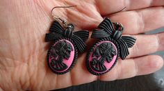 Skull Cameo earrings Pink Skull Zombie Lady Death, Fuschia Pink and Black with Bow , Pin Up, Burlesque , Gothic , Victorian,..OOAK!!! by princessmadisonparis on Etsy