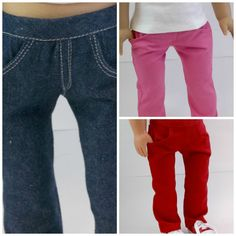 American Girl 18 inch Doll Denim or Twill Skinny Jeans with Real Pockets Pants Doll ClothesToys = skinny jeans made using the Liberty Jane pattern