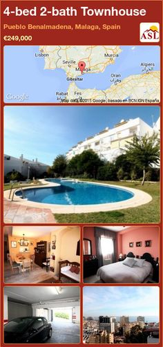 Townhouse for Sale in Benalmadena Pueblo, Malaga, Spain with 4 bedrooms, 2 bathrooms - A Spanish Life Murcia, Benalmadena, Malaga Spain, Living Room With Fireplace, Townhouse, Terrace, Spanish, Bathroom, Bed
