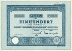 HWPH AG - Historische Wertpapiere - Süddeutsche Zucker AG / Mannheim, Januar 1968, Specimen einer Aktie über 100 DM