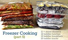 Freezer Meals ~ 5 posts! Plus toddler meals to make ahead and freeze in daily portions