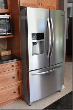 Does this not look funny sticking out so far? Frigidaire Galley Refigerator from Setting for Four Kitchen Items, Home Decor Kitchen, Home Kitchens, Best Fridge Freezer, Frigidaire, Stainless Steel Refrigerator, French Home Decor, Single Doors, Beautiful Kitchens