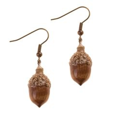 Porcelain Acorn Hook Earrings by And Mary